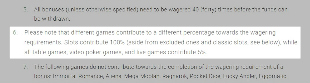 BitStarz wagering contribution terms