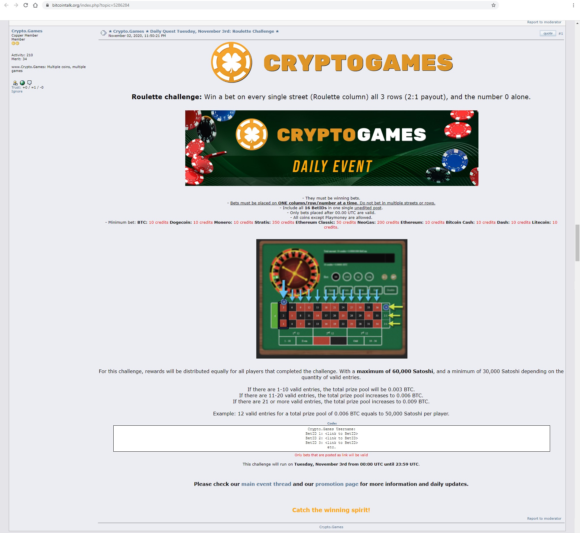 Crypto.Games promotions on forum