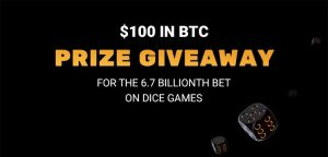 Crypto.Games Prize Giveaway for their 6.7 Billionth Dice Bet