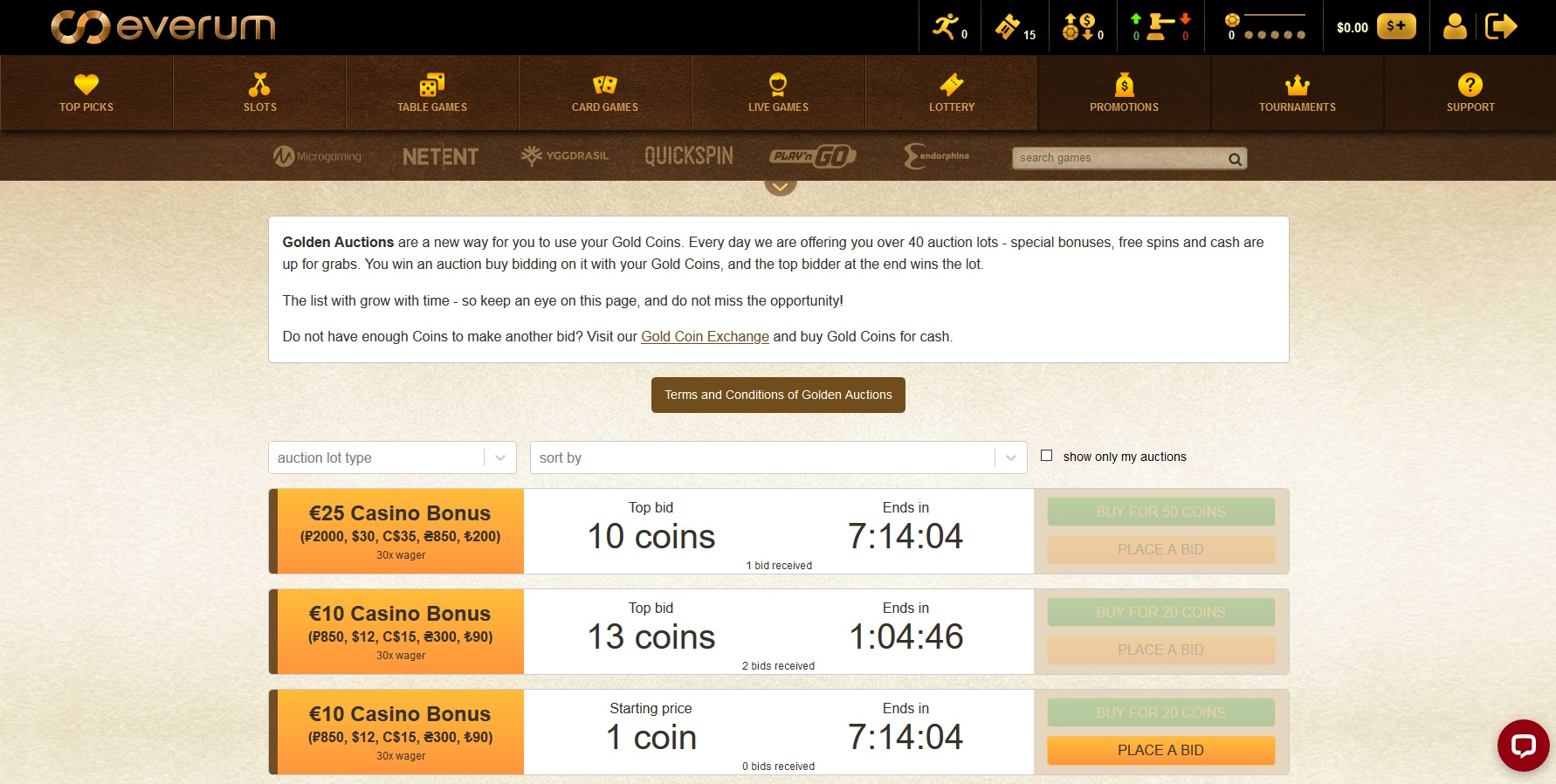 Everum casino Gold Coin auctions