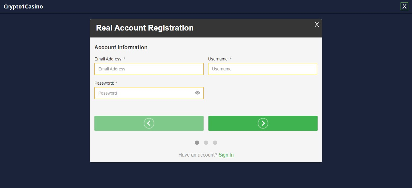 Crypto1Casino login and signup